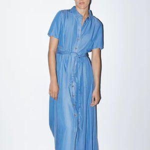 Zara Womens Denim Shirt Dress L Blue Maxi Short